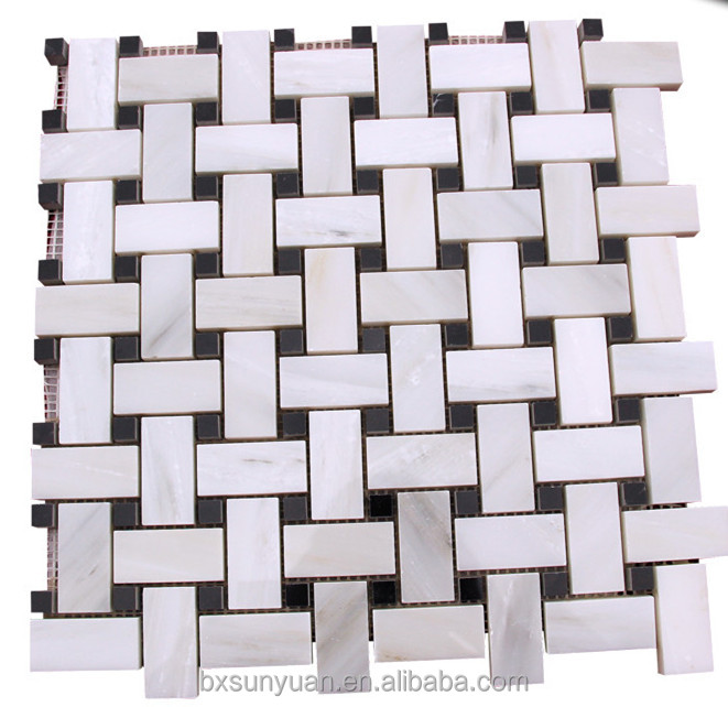 Carrara/Nero Marquina Basketweave Honed Mosaic Tile