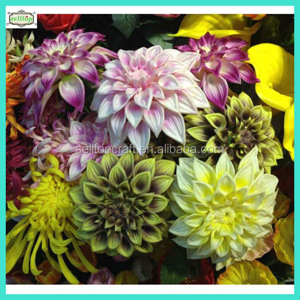 75cm 2 heads real touch pu fake dahlia whole sale