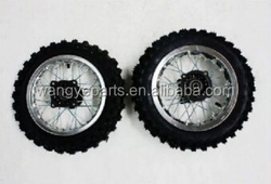 "Silver 10"" Inch Front and Rear Alloy Wheel Rim Knobby Tyre Tire PIT PRO Trail Dirt Bike Parts"