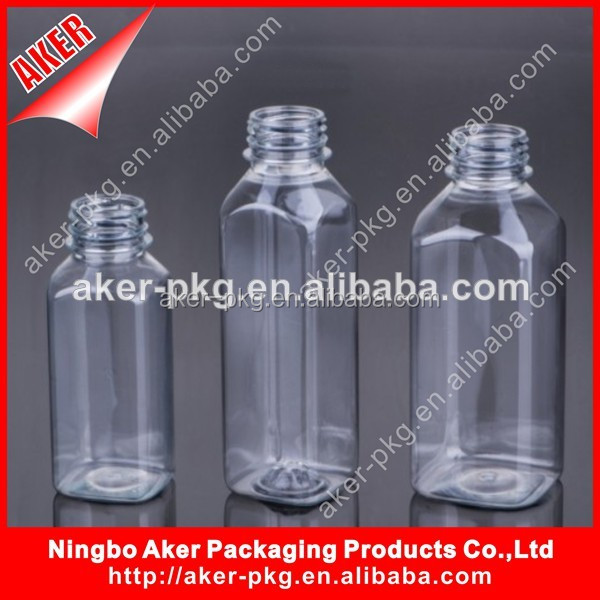 8oz 12 oz and 16oz Food Grade Plastic Square Beverage Fruit Juice Bottle With Tamper Evident Screw Seal Lid