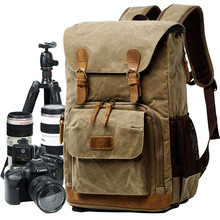 Oil Wax Canvas Leather Rucksack Stylish Camera Backpack Bag