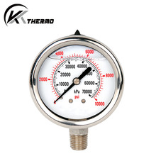 Dial bimetal industrial equipment bottom connection hydraulic oil pipeline pressure gauges