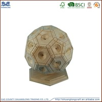 Hot sale wooden coin saving pot , ball shape money saving box for decoration