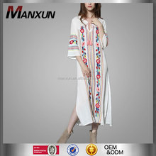 Ladies Fashion 3/4 Sleeve Long Maxi Dresses Ethic Design Blossom Crepe Blossom Maxi Crepe Dress In White