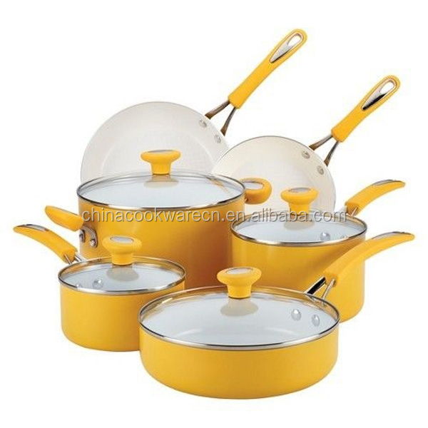 10pcs yellow aluminum ceramic cookware set