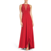New Arrival Sexy Plunging V Neckline Wrap Long Red Leger Sexy Rayon Bandage Illusion Gown Dress