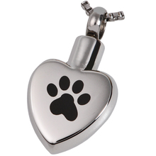 Custom Stainless Steel Heart Shape Cremation Pendant Paw Prints Pet Ash Urn Cremation Jewelry