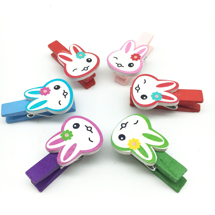 cute animal rabbit shape paper clips mini colorful wooden craft clips