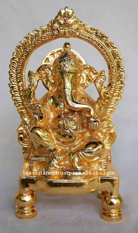 Gold Finish Brass Sculpture Lord Ganesh