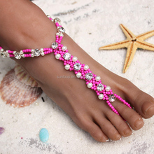 Beach Wedding Jewelry Exclusive Handmade Elastic Bridal Barefoot Sandals With CZ Stones