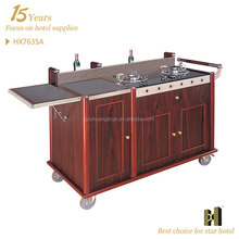 Hotel or Restaurant Use Two Gas Burners cooking trolley
