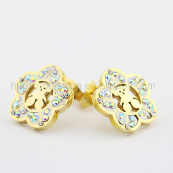 cheap cute bear jewelry gift beautiful fake diamand stud earrings girls