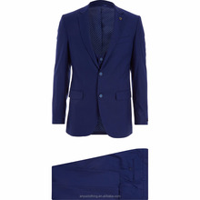 Formal Wear Male Midnight Blue Three-Piece Suit with Custom Label