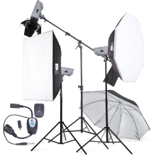 Mini studio flash equipment three flash light photographic lighting kit