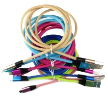 Colorful Custom Logo Clothing Braided Metal V8 Usb Cable Wires for <strong>Android</strong>