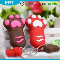 PVC Custom Shape 1GB 64GB Dog Feet USB Flash Drive for Gift