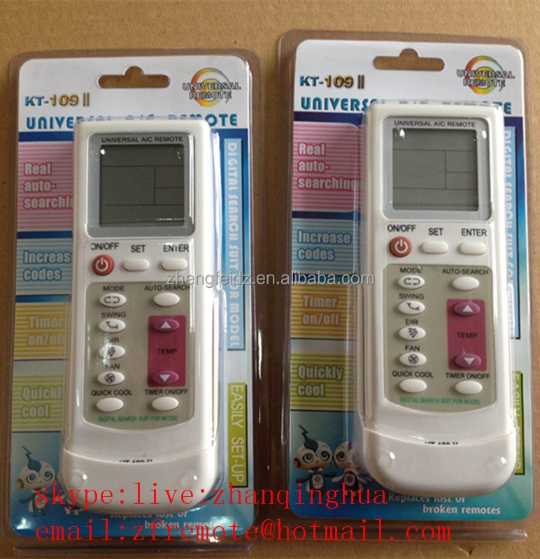 White 12 Keys KT-109II UNIVERSAL AC REMOTE CONTROL increase codes Timer on/off EASILY SET-UP DIGITAL SEARCH SUIT FOR MODEL