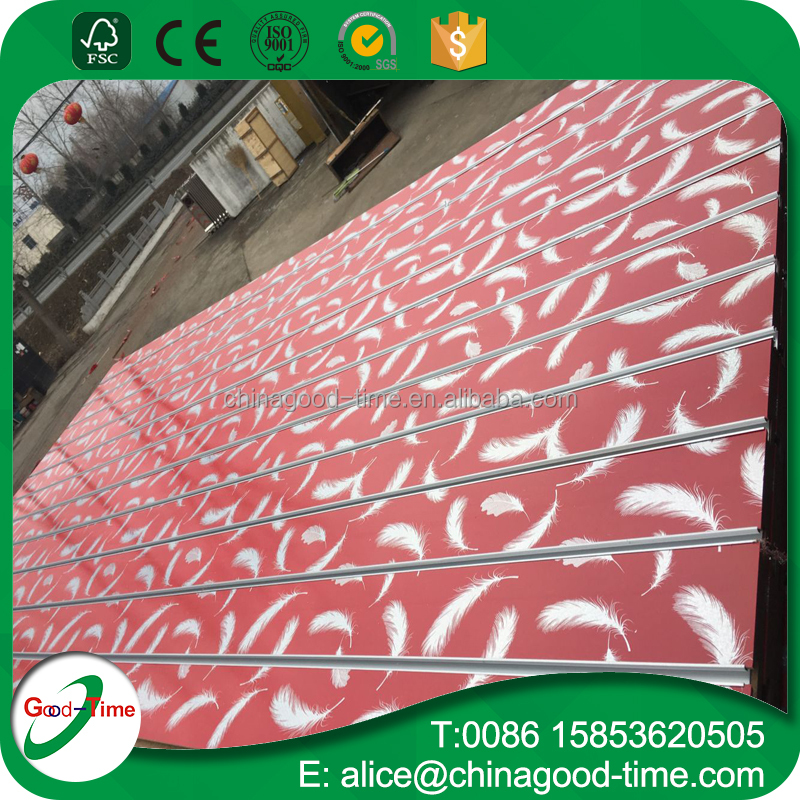 MDF grooved board /wood laminated wall panel /melamine slotted board