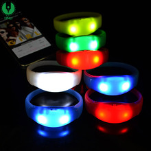 Silicone Sound Activated Concert Party Flashing Light up Led Wristband Bangle Bracelet Manufacturer
