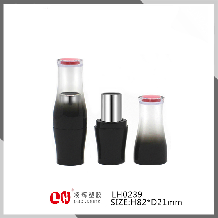 Plastic bottle shape gradient black empty lipstick tube case transparent top of cap