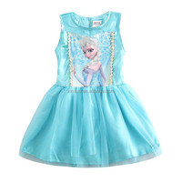 2015 new summer blue princess dress with lace for 1-6 years old girls