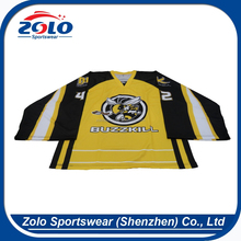 Fully sublimation adult's unique black and yellow hockey jersey