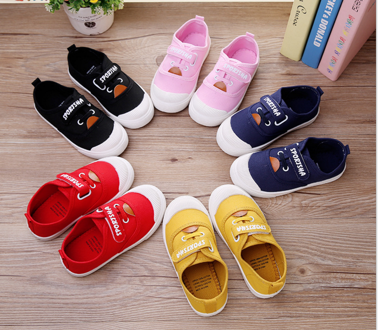 2017 korean fashion simple children cute soft heel flat casual canvas shoes