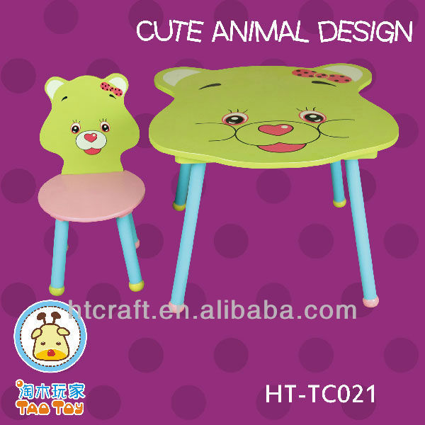 HT-TC021 lovely smile cat cartoon wooden table chair for preschool kids play
