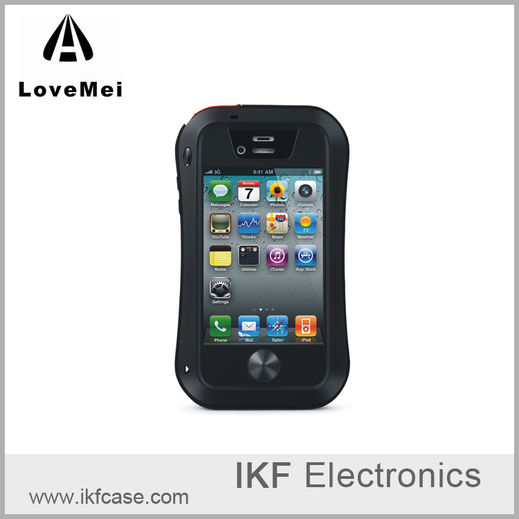LOVE MEI Powerful Small Waist Upgrade Version Aluminum Metal & Silicone Waterproof Shockproof Case for iPhone 4 4S
