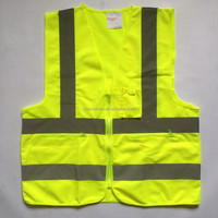 yellow high reflective safety vest with zipper and pockets