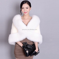 2016 pop deaign real mink fur shawl with fox fur brim fur cappa women's tippet