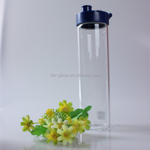 550ml china outdoor sport high quality clear high borosilicate heat resistant custom straw wholesale glass drinking bottle