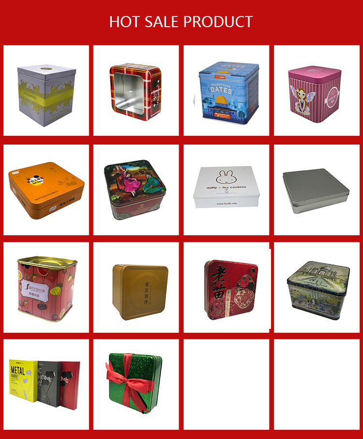 square shape small metal tin boxes custom embossed tin box