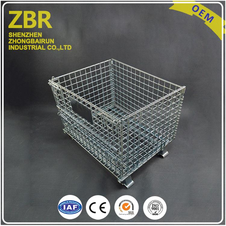 Wire Decking Metal Collapsible Cage Wooden Pallet Storage Container