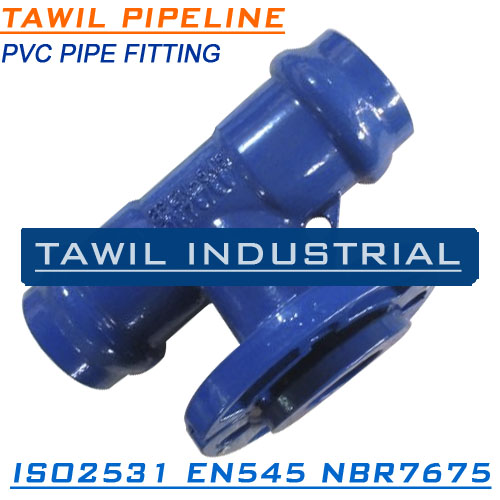 TAWIL Double Socket with Loosing Flange Branch Tee for PVC pipe