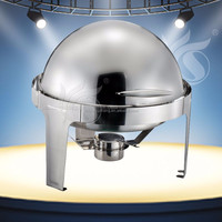 Round Mechanical Hinge Roll Top Restaurant Buffet Chafing Dish for Parties