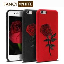 Hard pu cover protective 3d flower embroidered mobile phone shell