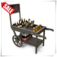 Wooden Retail Display Cart with Chalkboard contemporary bar cart