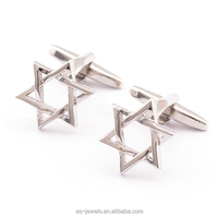 QH004 New Fashion High Quality Six Star Cufflink Hexagram Design Cuff Link