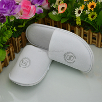 100% Cotton Terry SPA Slippers in Closed Toe White Washable Hotel Guest Slippers