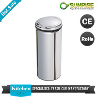 morden household round red stainless steel garbage can
