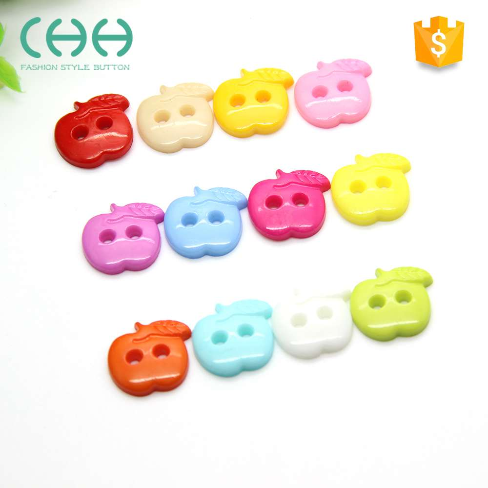 Exquisite apple shaped colorful plastic button