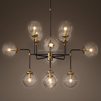 Antique Vintage Glass Ball Chandelier Lighting Pendant Hanging Light LED Suspension Lamp CZ2615/12