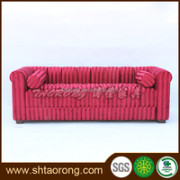 Custom wood red fabric living room sofa for home