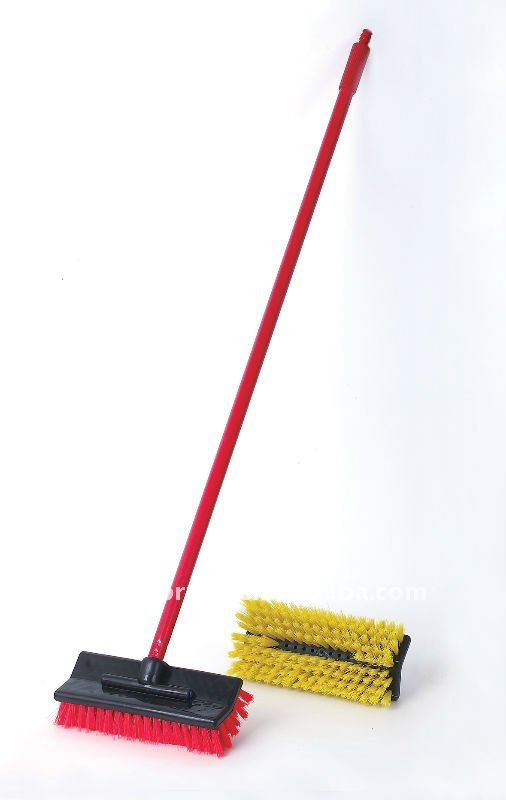 HQ0010 hot-saled PP car water flow wash brush/car tire & tyre brush with long firm metal handle