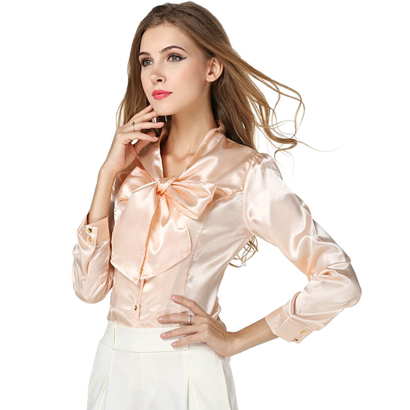 f7c573b8e7113 Get Quotations · Women Silk Tops Long Sleeve Casual Blouses Bow Shirts  Ladies Work Office Shirt Blouse Top Blusas