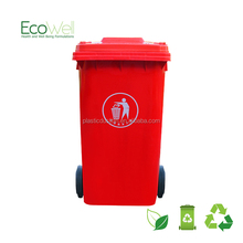 240L high capacity plastric red garbage can with two wheels