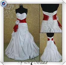 JJ3514 Sweetheart No Train Red And White Wedding Dresses
