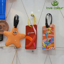 Customized made cartoon soft pvc rubber travel luggage tag