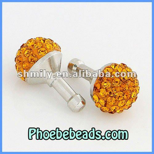 Wholesale New Arrival 10mm Disco Ball Crystal Earphone Jack Dust Plug dustproof plug ear cap For Iphone Smartphone MDP-C1001